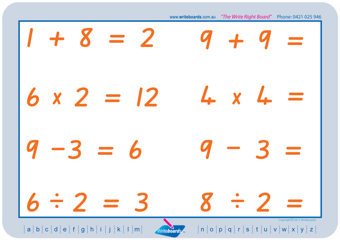 QLD Modern Cursive Font Basic Maths Worksheets. Addition, subtraction, multiplication, and division. fantastic for Special Needs.