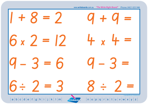SA Modern Cursive Font Maths Worksheets. Addition, subtraction, multiplication, and division to twelve. SA handwriting.