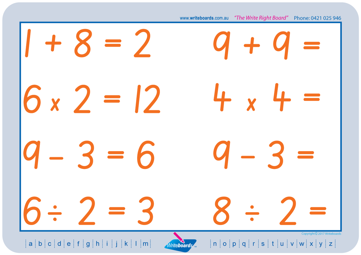 SA Modern Cursive Font Maths Worksheets. Addition, subtraction, multiplication, and division to twelve.