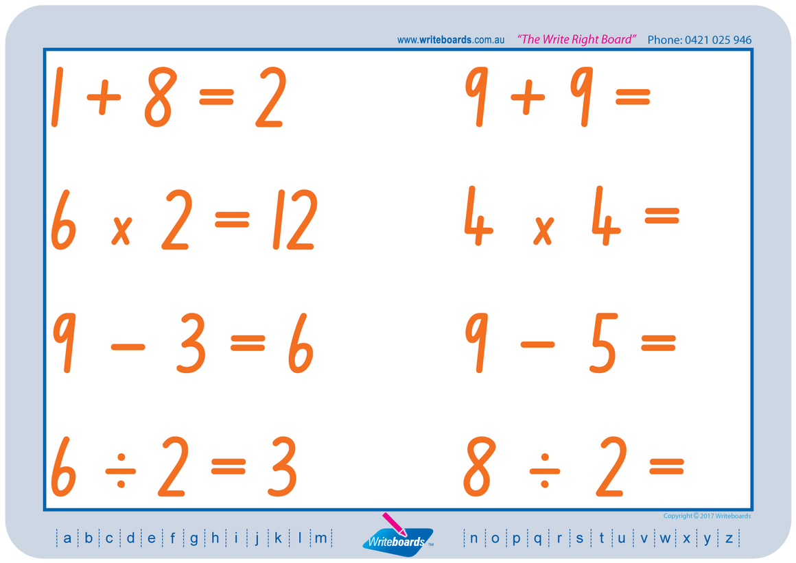 TAS Beginner Font Maths Worksheets. Addition, subtraction, multiplication, and division to twelve.