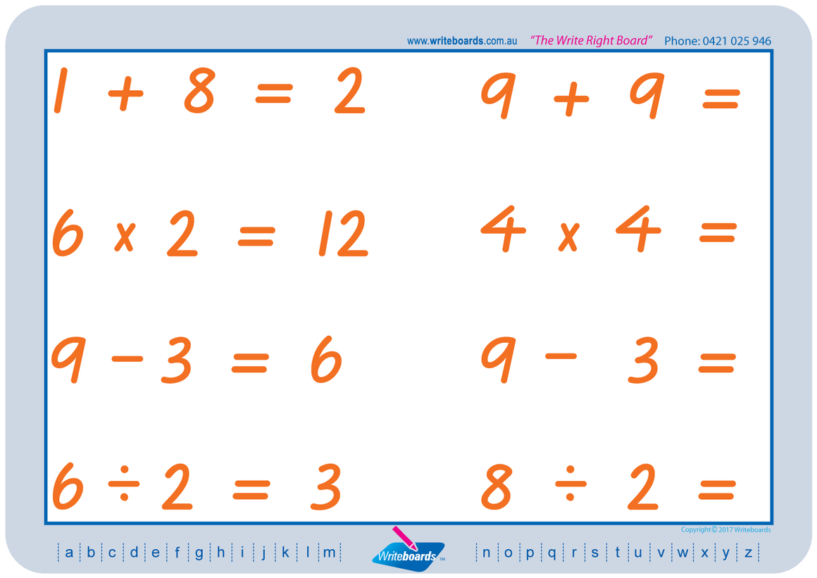 VIC Modern Cursive Font Maths Worksheets. Addition, subtraction, multiplication, and division to twelve. VIC handwriting.