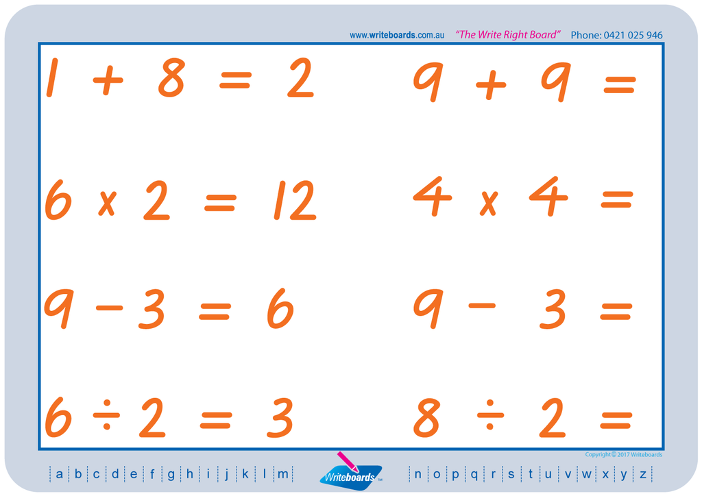 VIC Modern Cursive Font Maths Worksheets. Addition, subtraction, multiplication, and division to twelve.