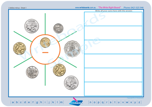 Australian Money Worksheets includes posters, flashcards and worksheets.