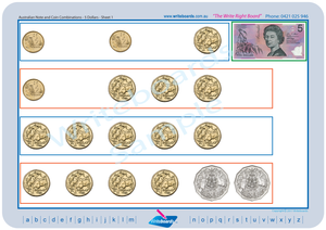 Australian money worksheets and flashcards for teachers, Australian money notes and coins includes worksheets and flashcards