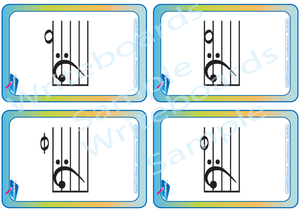 Teach Your Child the Piano Notes in the Left Hand, Musical Flashcards