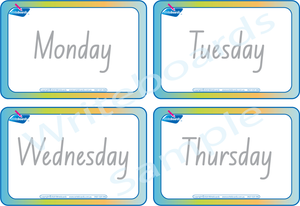 Free Flashcards for Days of the Week in NSW & ACT Handwriting