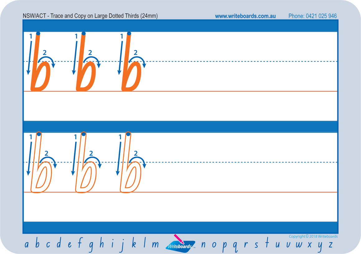 Large lowercase dotted third letter worksheets using NSW Foundation Font for Occupational Therapists and Tutors