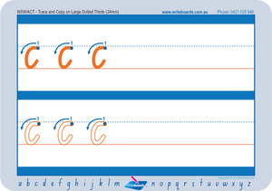 Large Dotted Third Letters for NSW and ACT handwriting. Fantastic for Special Needs Children.