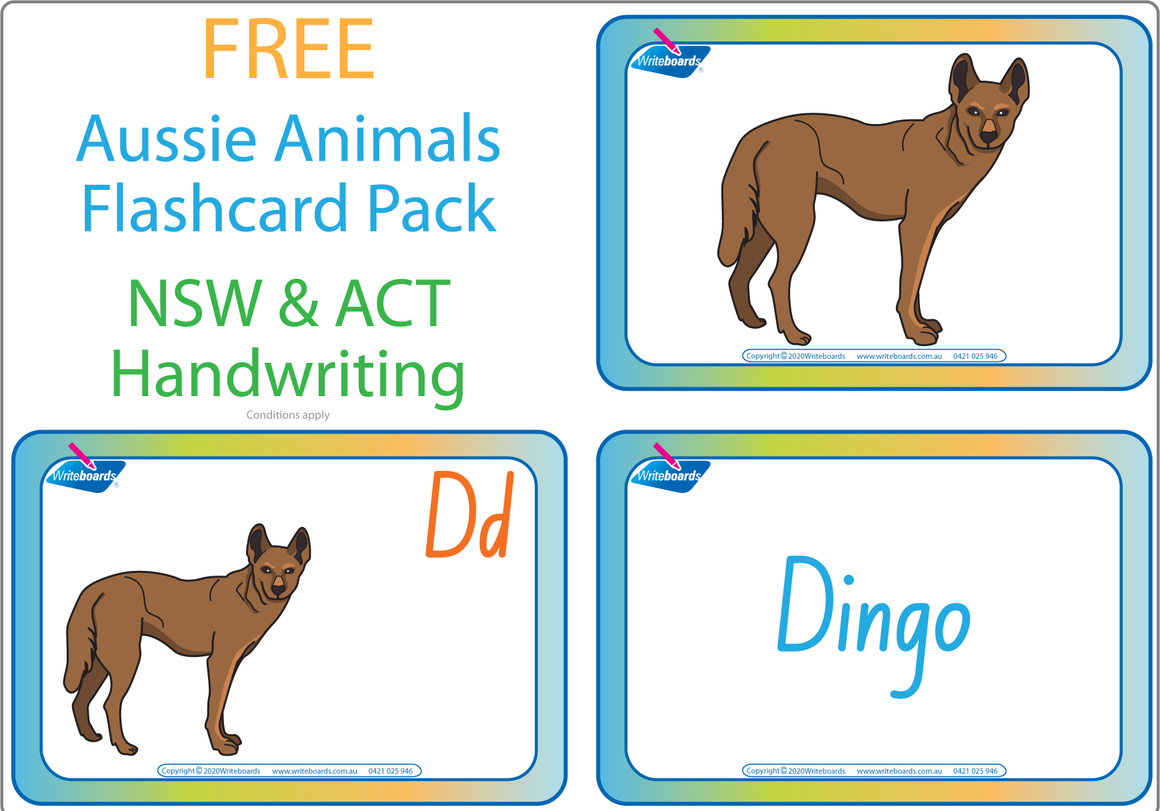 Free Australian Animal Alphabet Flashcards for NSW and ACT Handwriting, Free NSW & ACT Alphabet Flashcards