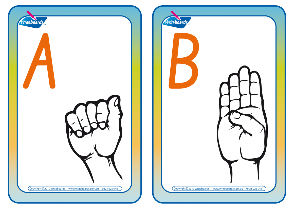 Sign Language Flashcards completed using NSW Foundation Font.