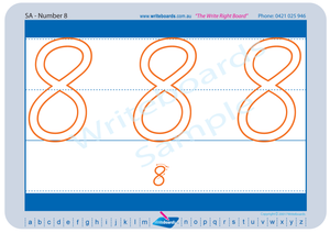 SA Modern Cursive Font number handwriting worksheets. SA number handwriting worksheets.