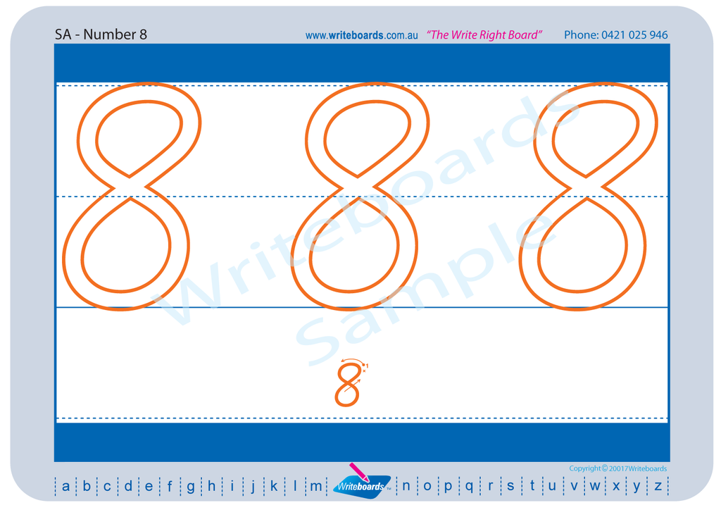 SA Modern Cursive Font Beginner Number Worksheets. Numeracy Tracing worksheets for SA handwriting.