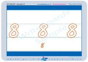 VIC Modern Cursive Font Beginner Number Worksheets for Tutors and Occupational Therapists