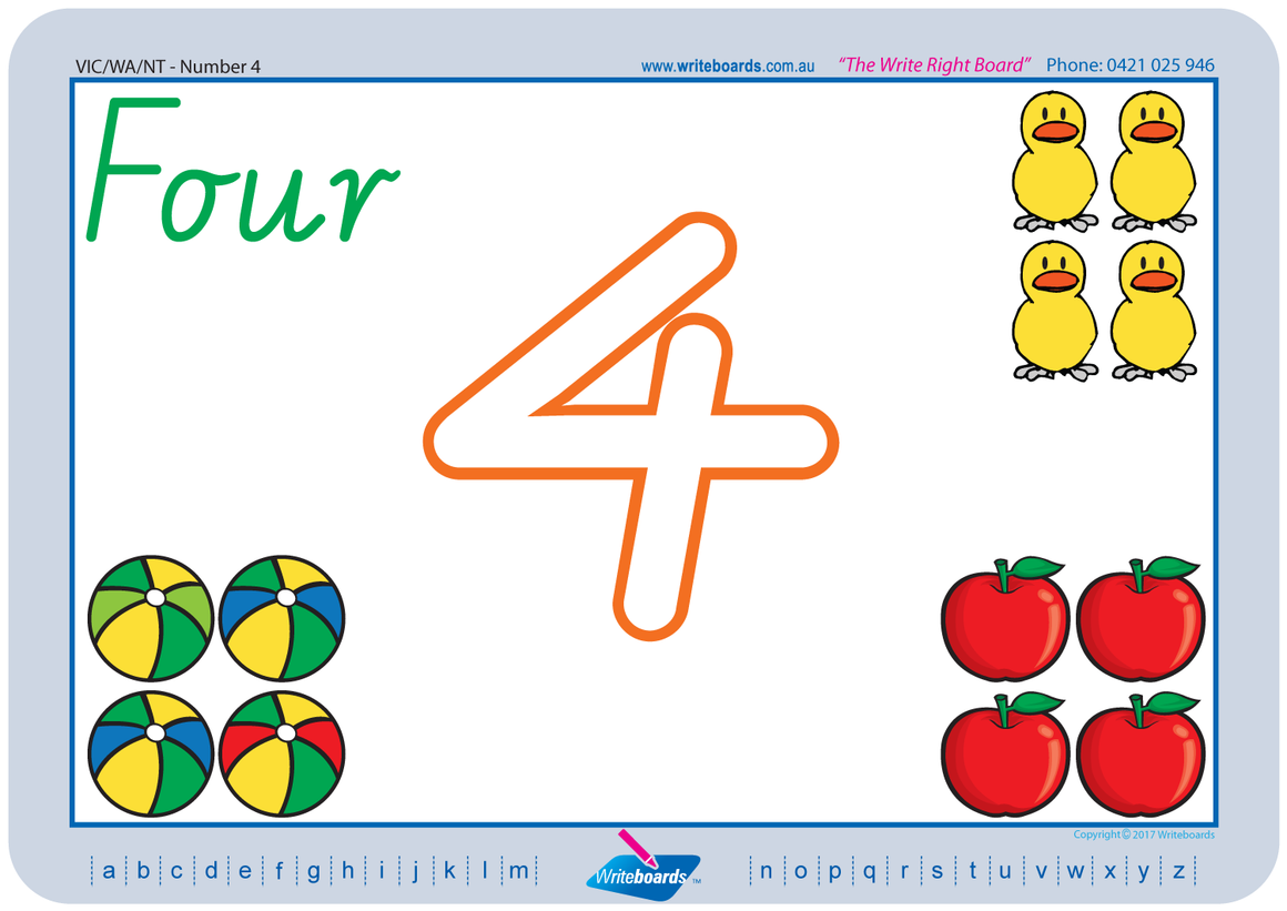 VIC Modern Cursive Font - Learn to draw numbers worksheets created by Writeboards