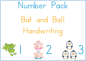 Busy Book Number Pack for Bat & Ball Handwriting