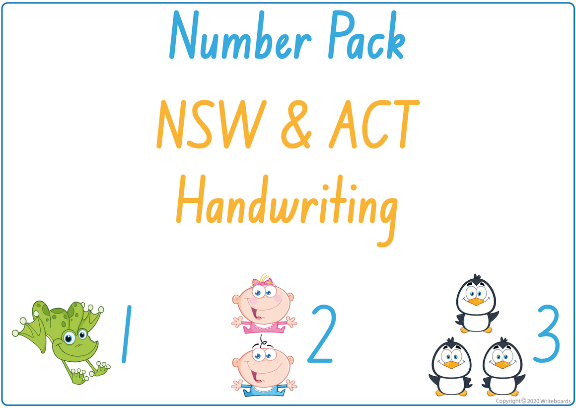 Busy Book Number Pack for NSW & ACT Handwriting include Busy Pages, Posters & Flashcards