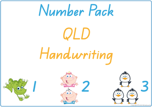 Busy Book Number Pack for QLD Handwriting include Busy Pages, Posters & Flashcards
