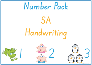 Busy Book Number Pack for SA Handwriting include Busy Pages, Posters & Flashcards