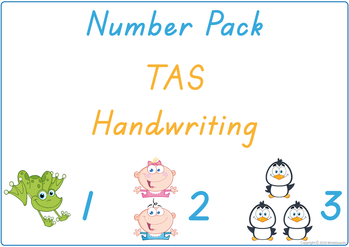 Busy Book Number Pack for TAS Handwriting include Busy Pages, Posters & Flashcards