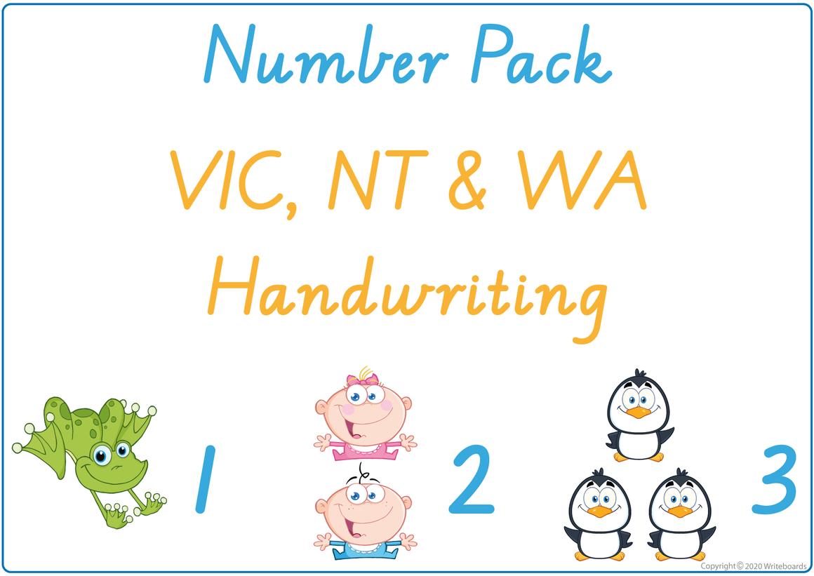 Busy Book Number Pack for VIC/ WA & NT Handwriting include Busy Pages, Posters & Flashcards