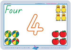 TAS Childcare and Kindergarten Resources, TAS Modern Cursive Font Beginner Number Worksheets and Flashcards for Childcare