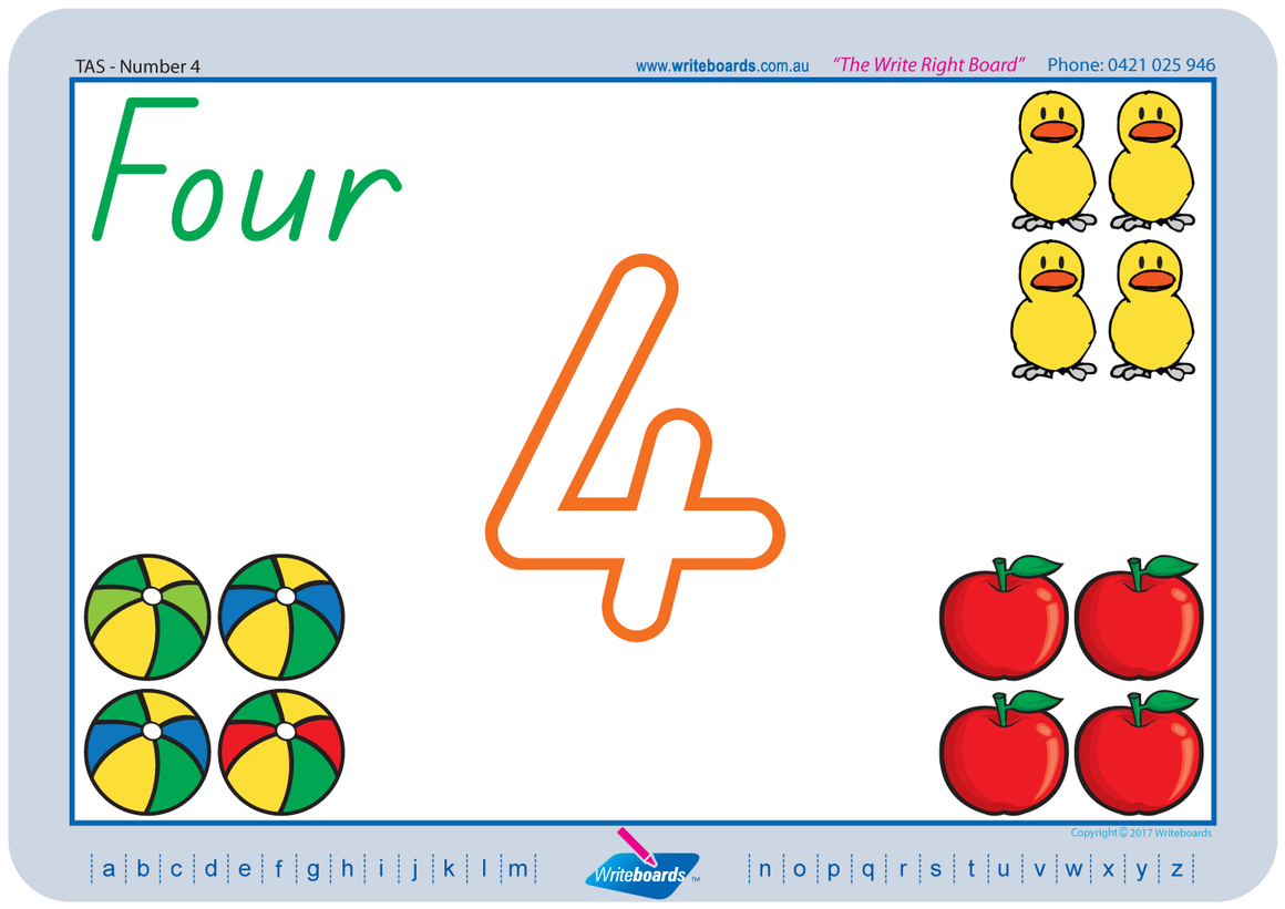 TAS Beginner Font number handwriting worksheets. TAS number worksheets. Writeboards.