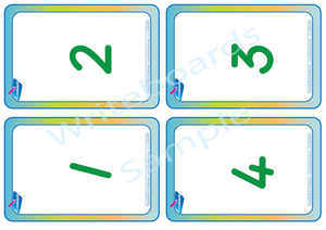 Special Needs TAS Modern Cursive Font number flashcards