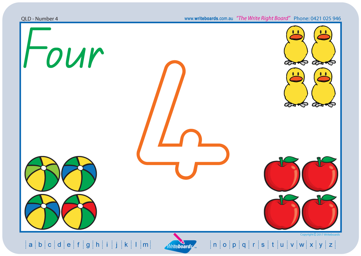 QLD Modern Cursive Font number handwriting worksheets and flashcards. Great for Special Needs children.