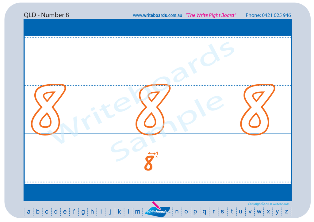 QLD Modern Cursive Font number handwriting worksheets. QCursive number worksheets. Writeboards.