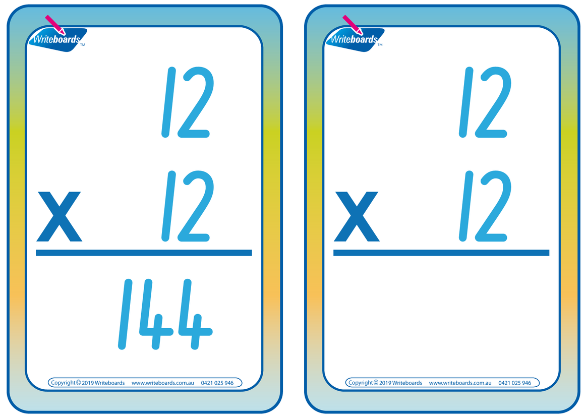 NSW Foundation Font Times Tables Flashcards for Tutors and Occupational Therapists