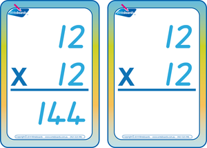 QCursive Times Tables Flash Cards, Times Table Flashcards QCursive