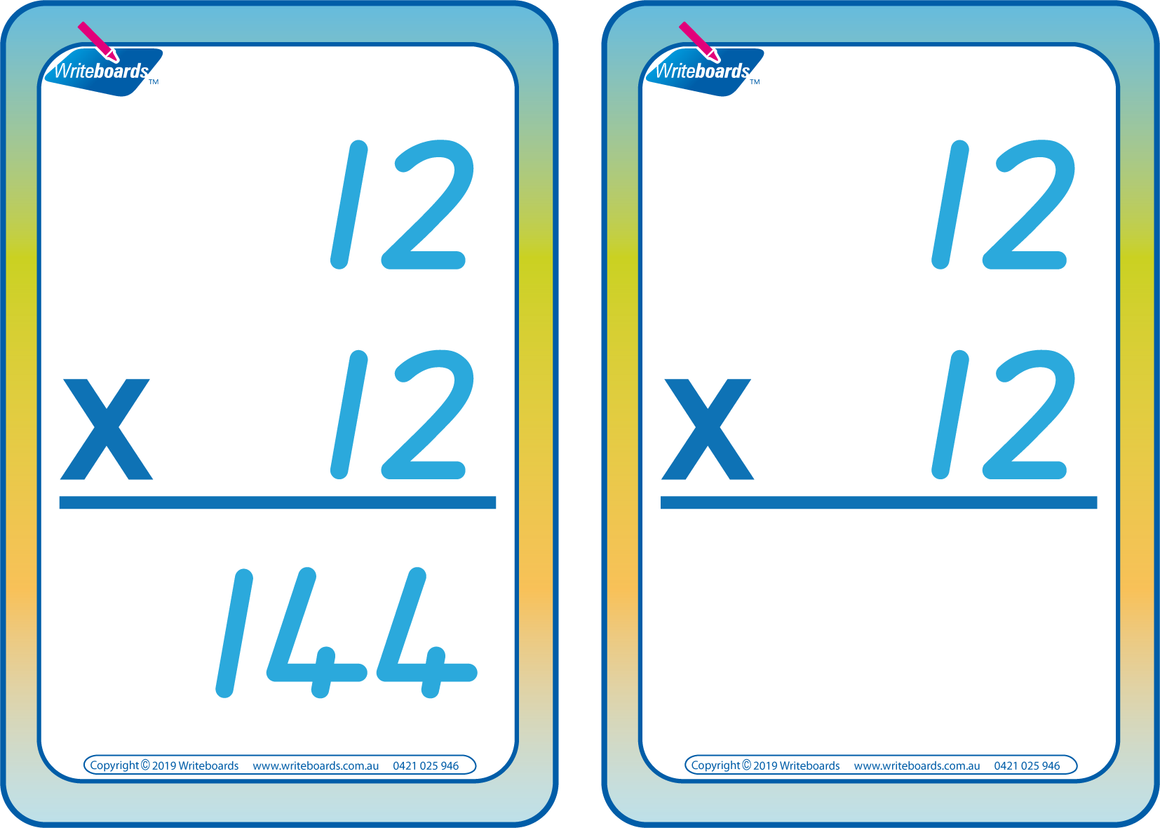 Times Tables Flash Cards completed using QLD Modern Cursive Font, QLD Times Tables Flashcards