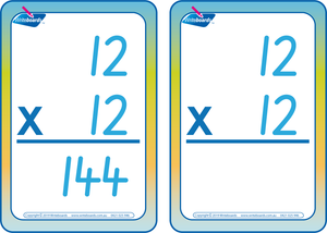 Times Tables Flash Cards completed using SA Modern Cursive Font, SA Times Tables,
