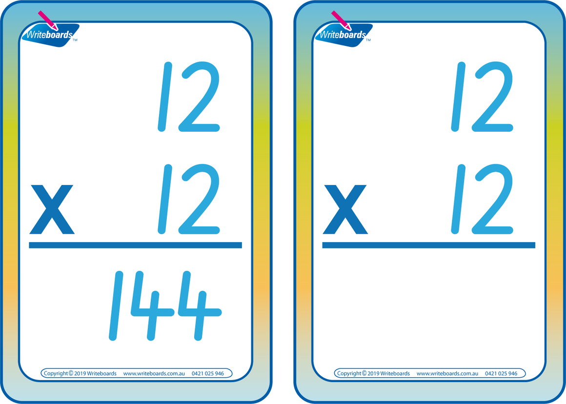 SA Modern Cursive Font Times Tables Flashcards with and without answers for Occupational Therapists and Tutors