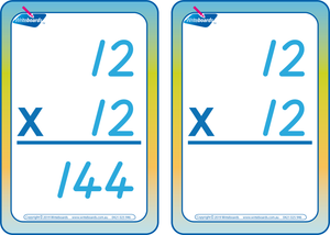 TAS Modern Cursive Font Times Tables Flashcards with and without answers for Occupational Therapists and Tutors