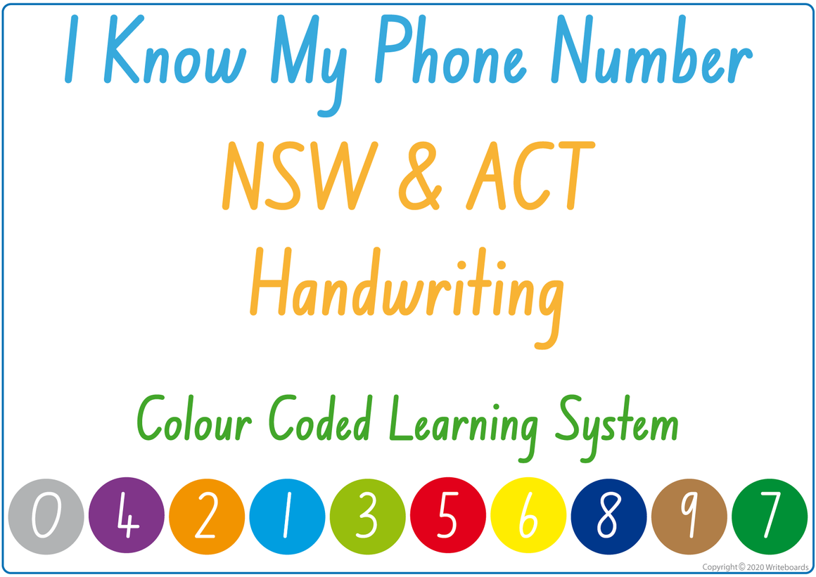 Teach Your Child Their Phone Number Using NSW & ACT Handwriting, Colour Coded Learning System