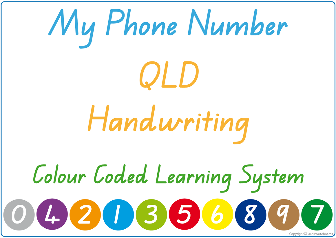 Teach Your Child Their Phone Number Using QLD Handwriting, Colour Coded Learning System