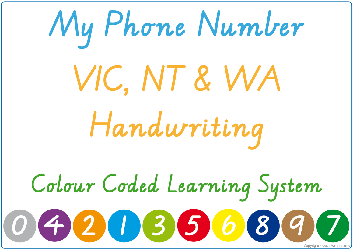 Teach Your Child Their Phone Number Using VIC, NT & WA Handwriting, Colour Coded Learning System