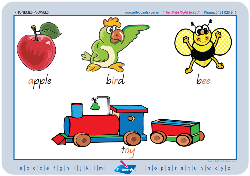 QLD Modern Cursive Font Vowel Phonemes Worksheets using QLD handwriting. Writeboards.