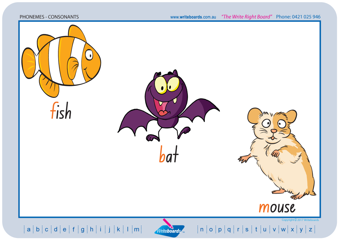 NSW Foundation Font Consonant Phonemes Worksheets using NSW and ACT handwriting. Writeboards