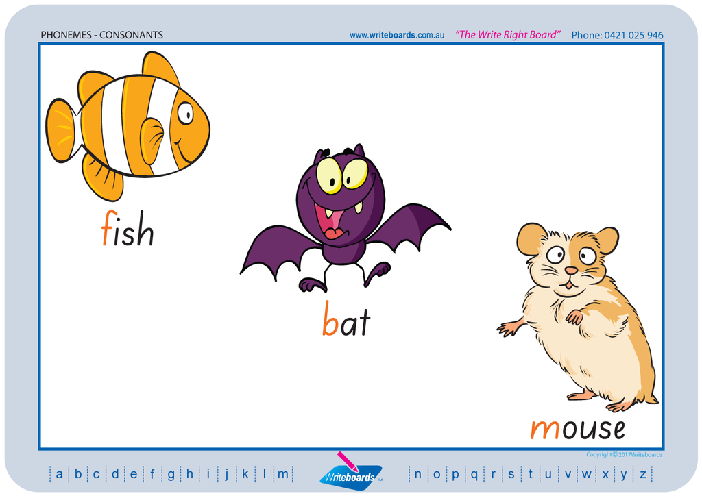 SA Modern Cursive Font Consonant Phonemes Worksheets created by Writeboards