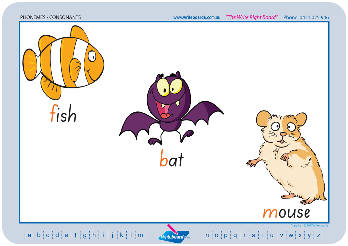 SA Modern Cursive Font colour coded Consonant Phonemes posters and resources for teachers and schools