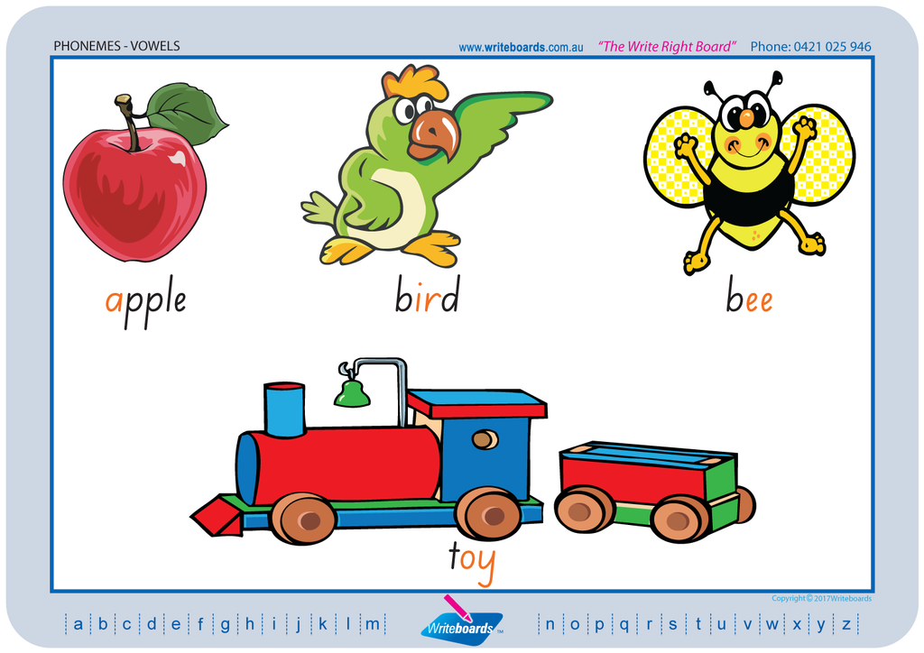 SA Modern Cursive Font colour coded Vowel Phonemes posters and templates for your classroom.