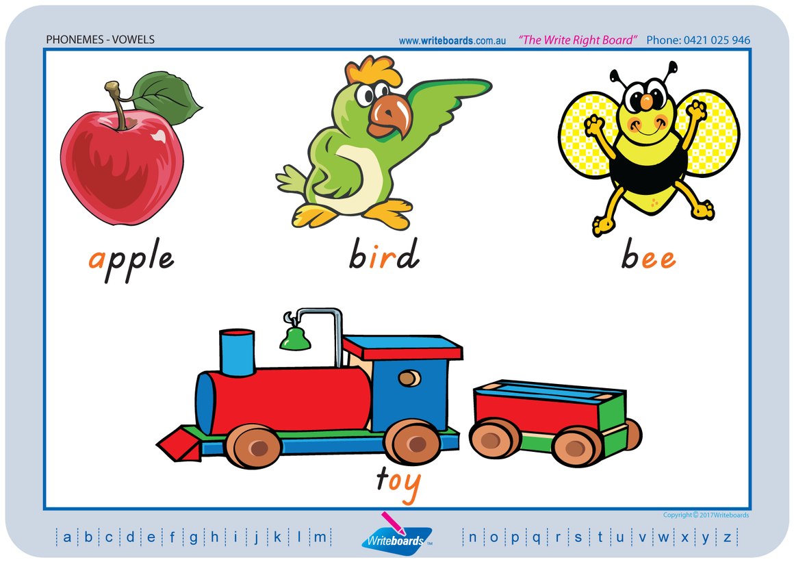 TAS Beginner Font colour coded Vowel Phonemes posters and templates for your classroom.