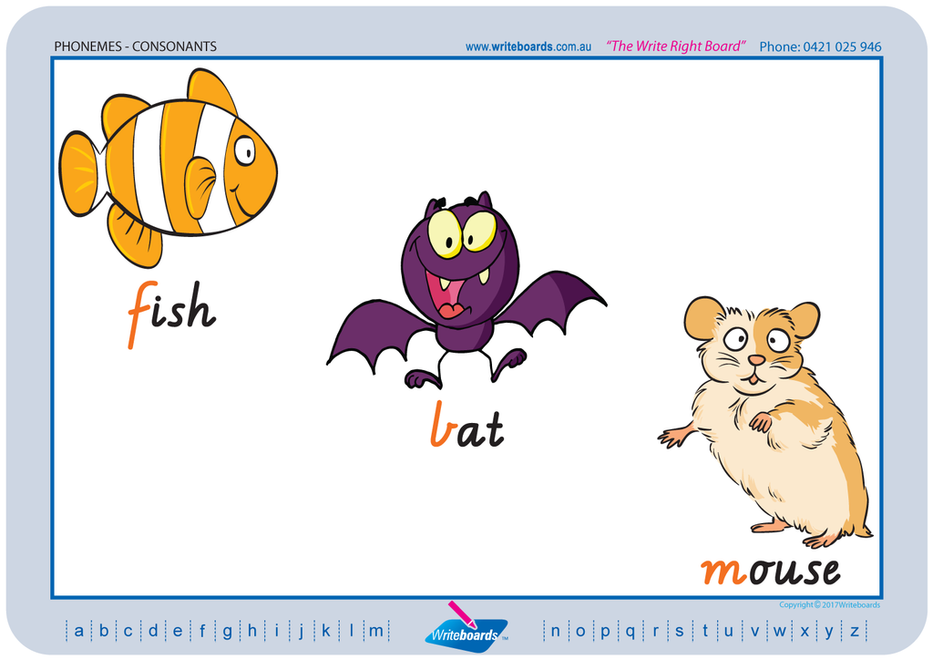 VIC Modern Cursive Font Consonant Phonemes Worksheets created by Writeboards