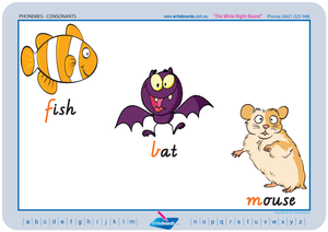 VIC Modern Cursive Font Consonant Phoneme Posters for Tutors and Therapists with descriptive pictures
