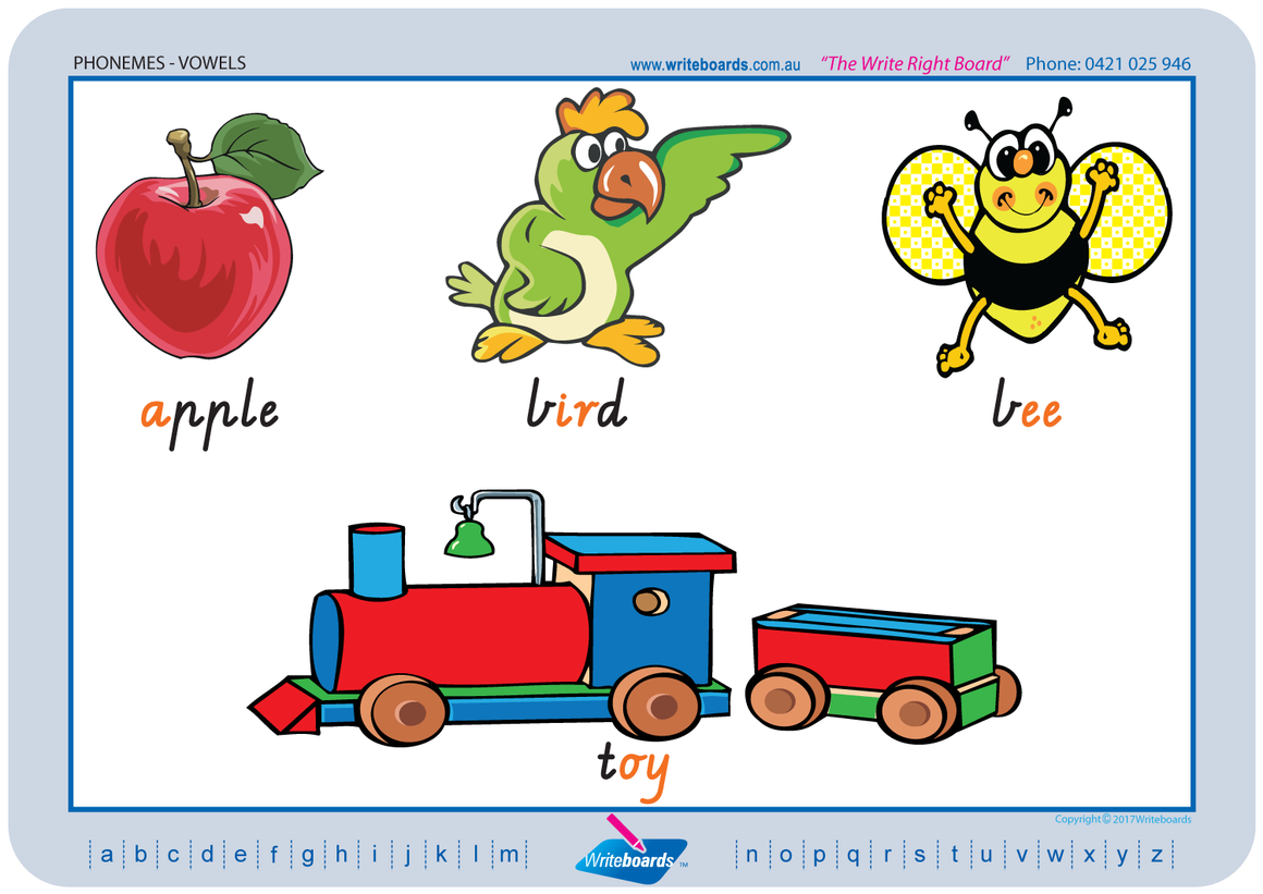 VIC Modern Cursive Font colour coded Vowel Phonemes posters and resources for teachers and schools