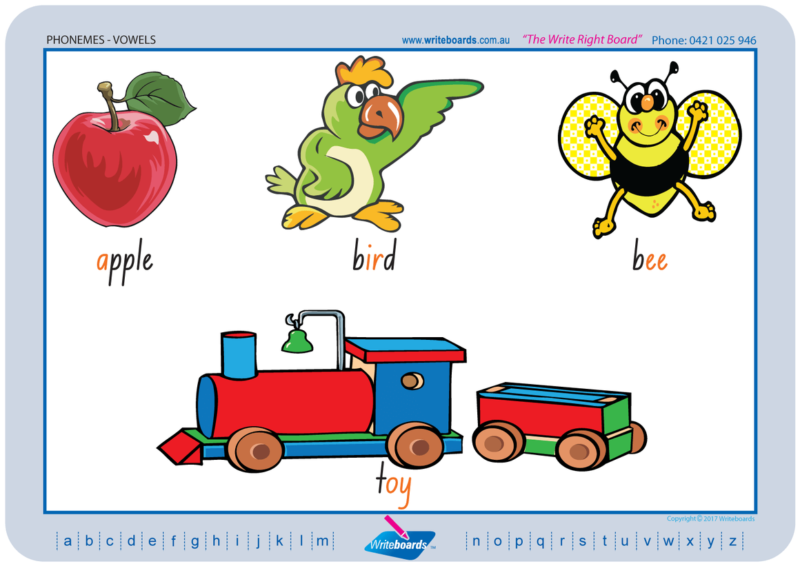 NSW Foundation Font Vowel Phonemes Worksheets using NSW and ACT handwriting. Writeboards