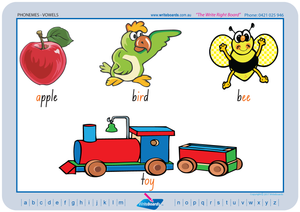 Vowel Phonemes Posters using NSW Foundation Font handwriting. Excellent product for special needs kids.