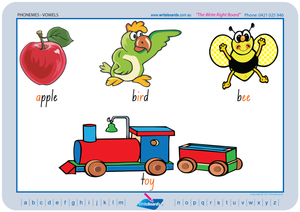 NSW Foundation Font Vowel Phonemes Posters for Tutors and Therapists with descriptive pictures
